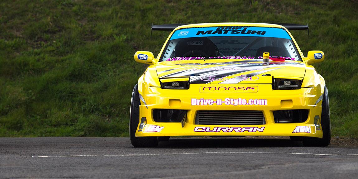 yellow nissan 180sx drift car