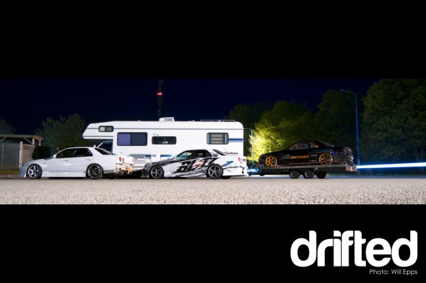 Drift cars motorway services