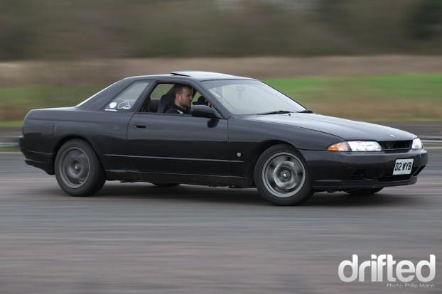 Ian Blackett drifting at Santa Pod