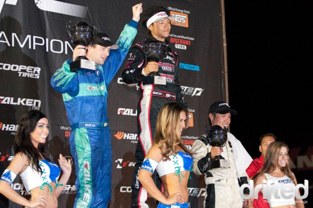 Yoshihara, McNamara, and Yoshioka on the Podium - Formula Drift Road Atlanta 2011