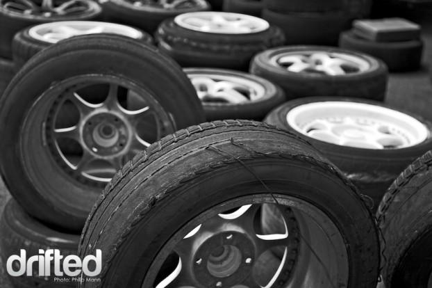 Dead tyres at Santa Pod