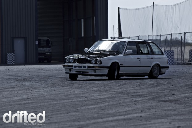 BMW estate drifting at Santa Pod DWYB