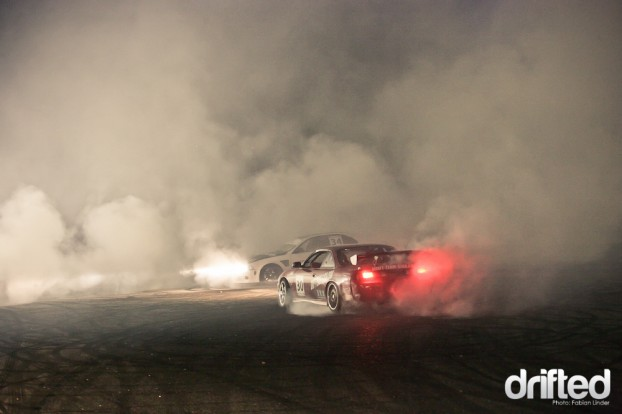 After the finals, a big white cloud ascended at the track, produced by dozens of drifters