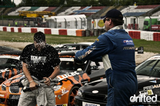 Tobias received a Champagne shower by Niels