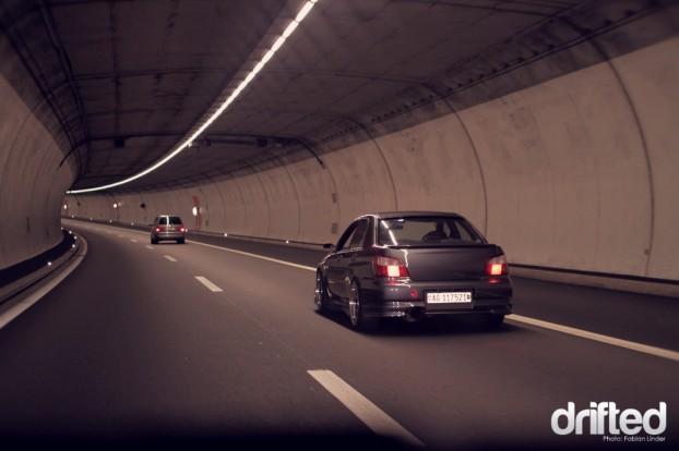 The Impreza in the 17km long Gotthard tunnel