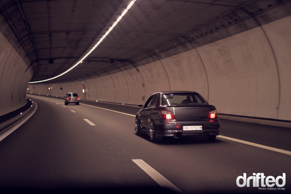 The Impreza in the 17km long Gotthard tunnel