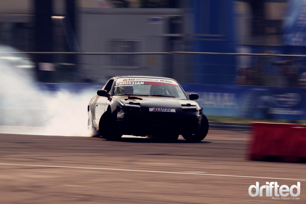 "Christian Kögler is also one of the favorites with his ""London garage Chop  shop"" gold member S13"