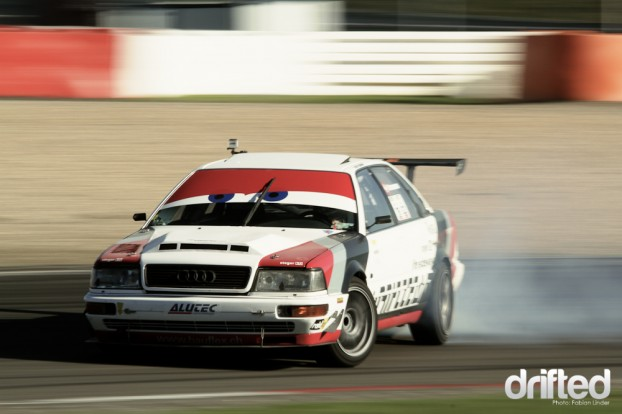 Very rare in the drift scene: Florian Zimmermann (CH) drives a Audi V8 with 480hp