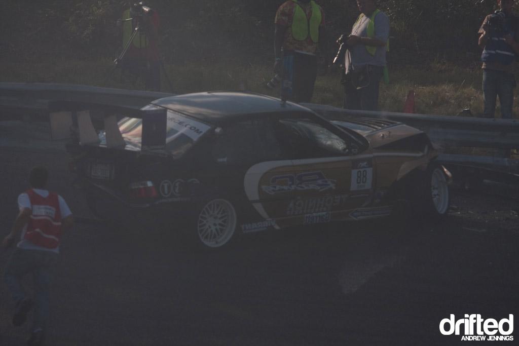 Chelsea Denofa crash at Formula D Wall NJ