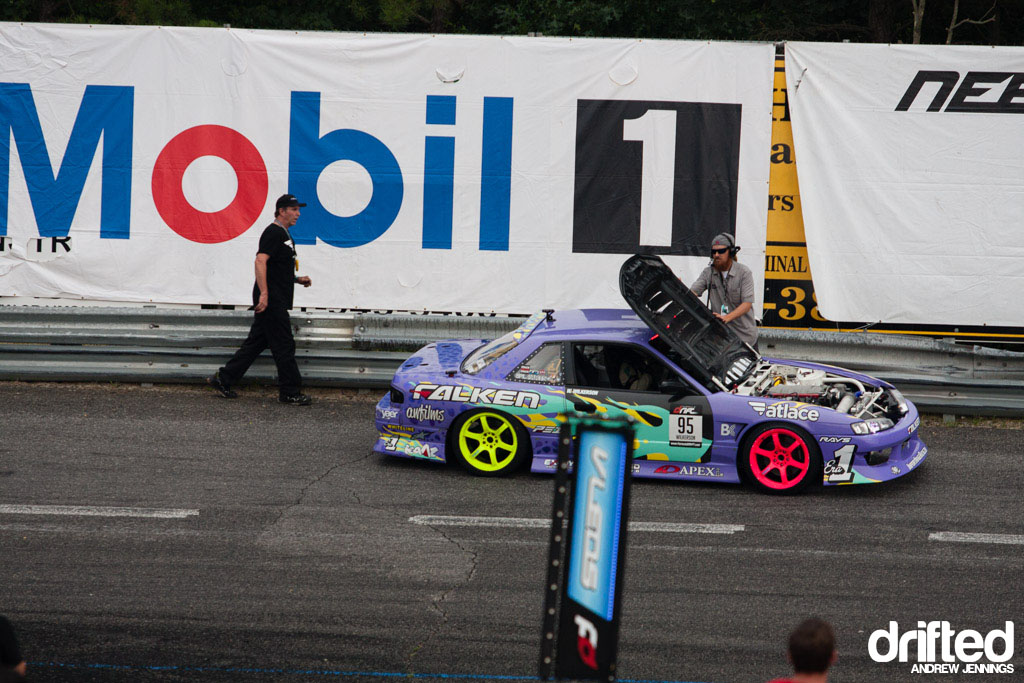 Walker Wilkerson's hood comes up at Formula D Wall, NJ