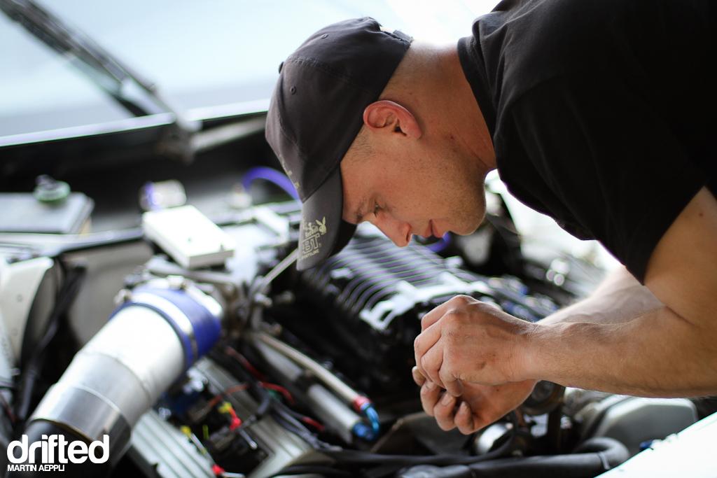 Florian fixing the Audi