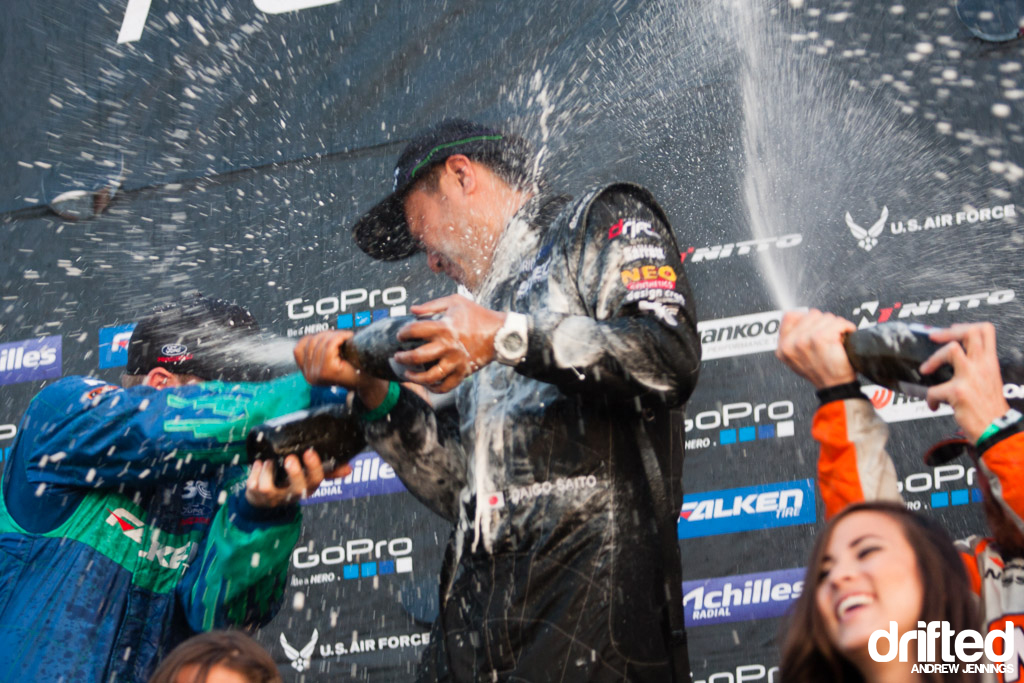 Champagne spray from FD Wall NJ Podium