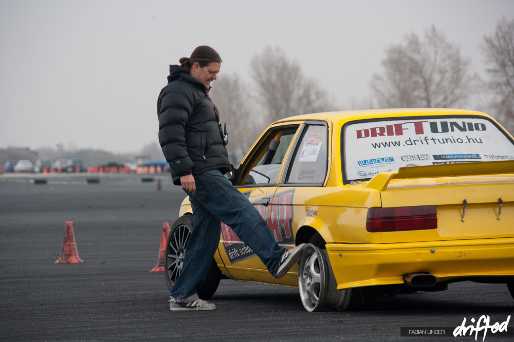 MYWAY Drift School Adam checking the rear tires