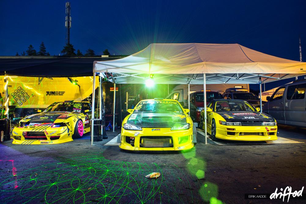 Team Yellow party all night at Gatebil Rudskogen