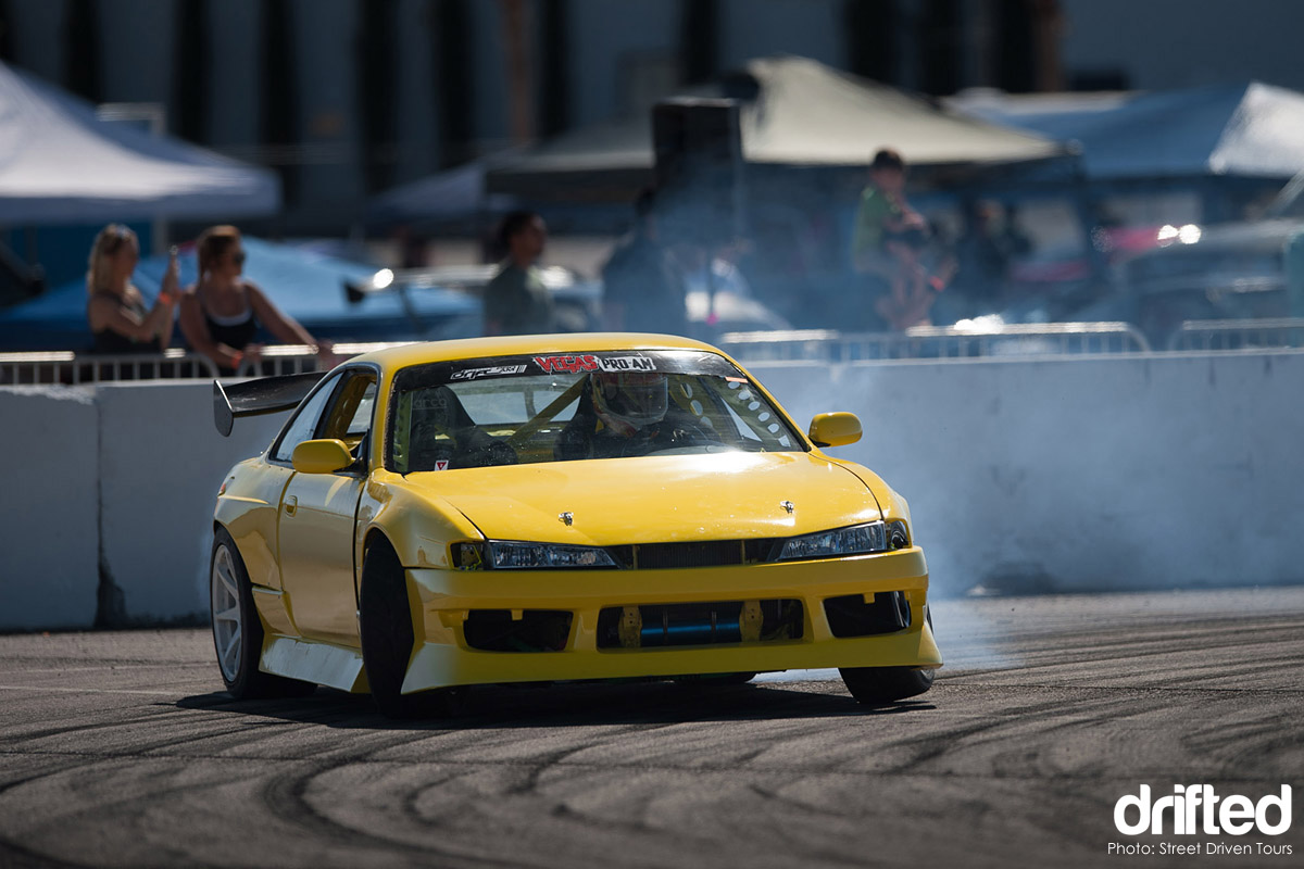 nissan s14 kouki drifting yellow
