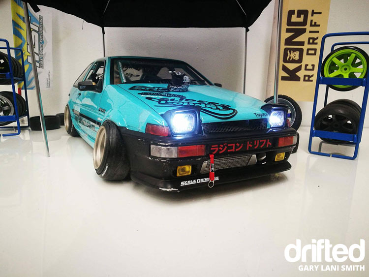 rc drift car ae86 front lights on
