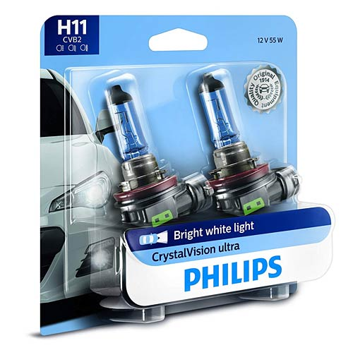 Philips CrystalVision Ultra Upgraded Bright White Headlight Bulbs