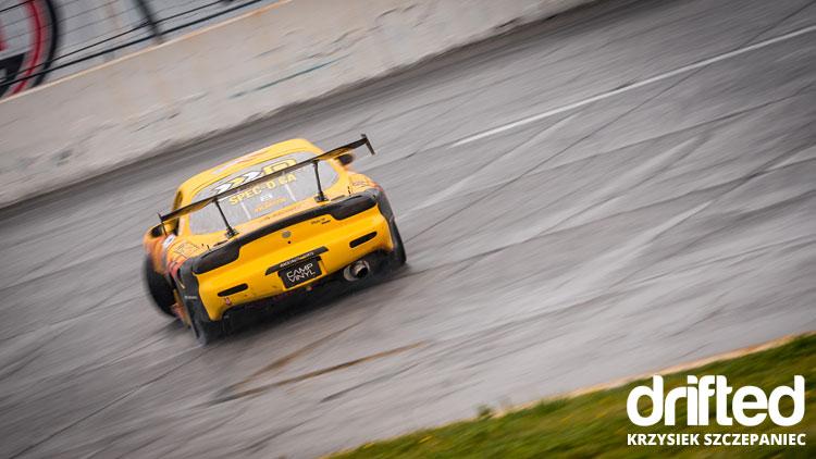 yellow rx7 fd3s drifting rear