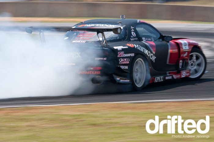 black mazda rx7 fd3s drifting rear