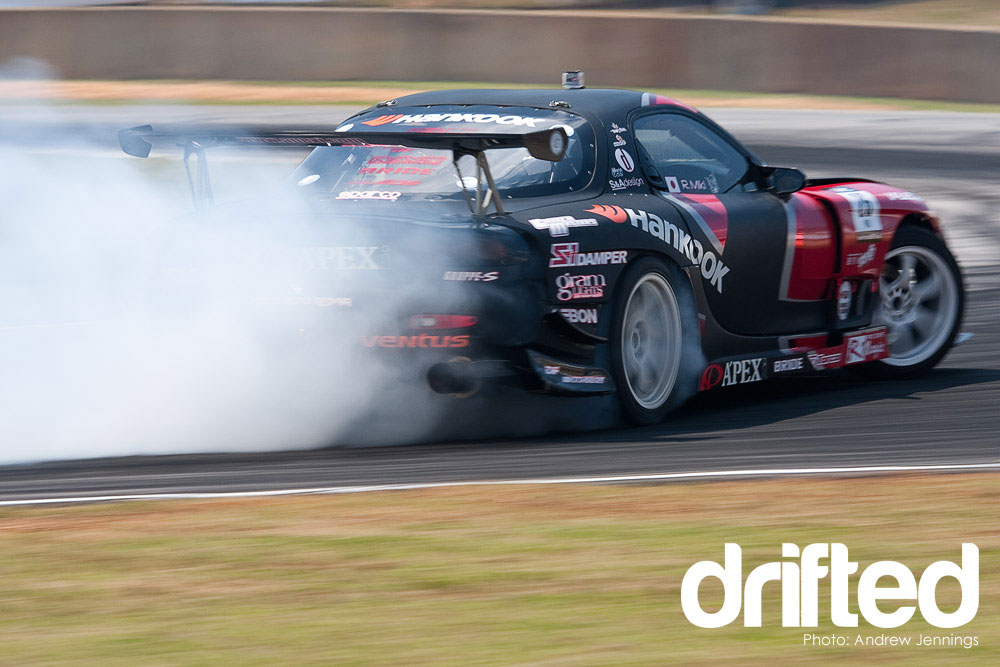 black mazda rx7 fd3s drifting rear