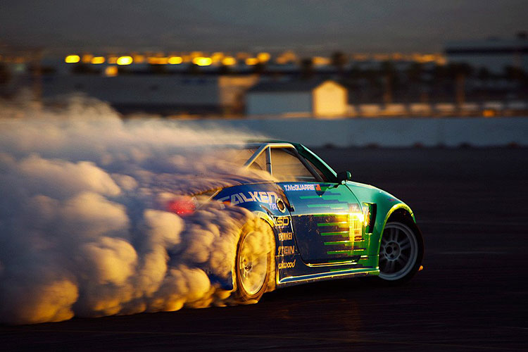 nissan 350z drift sunset smoke