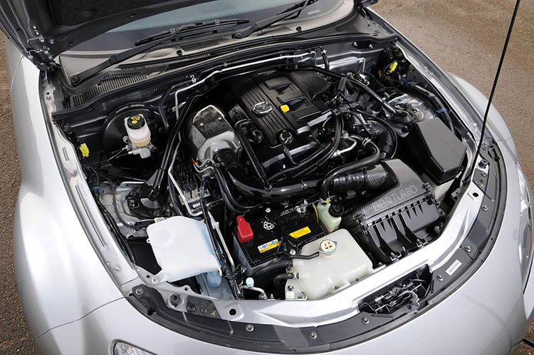 bbr bc miata turbo kit engine bay