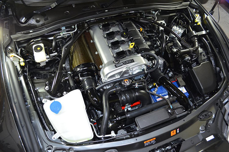 bbc nd miata turbo kit engine bay