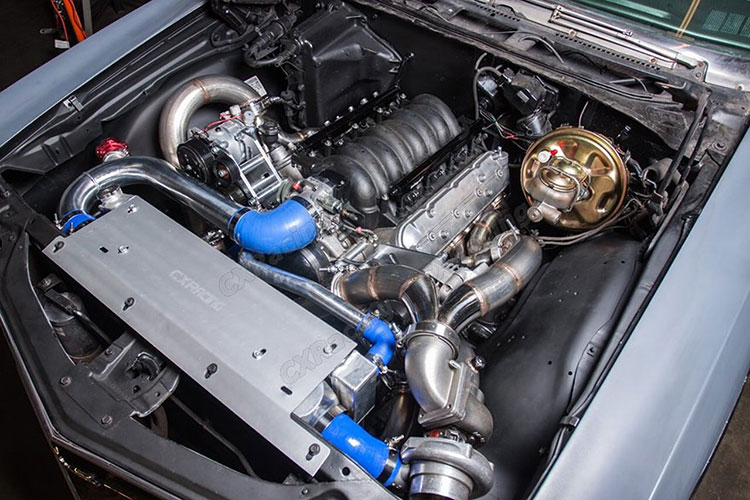 cx racing ls1 turbo kit engine bay