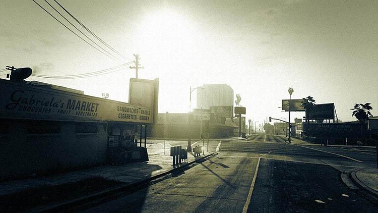 black white street scene gta v