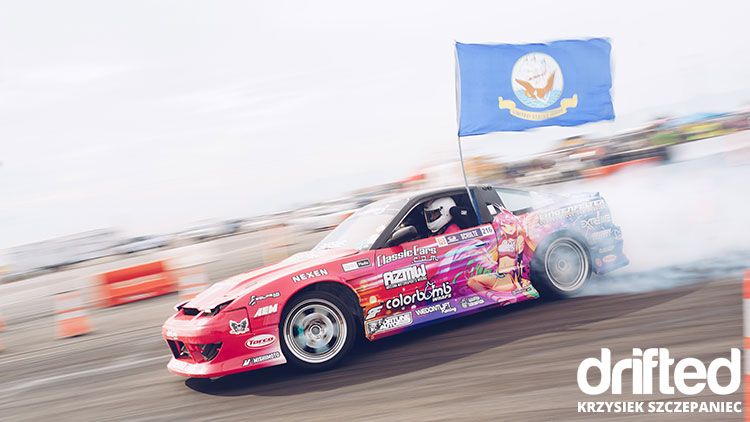 nissan 240sx s13 with flag