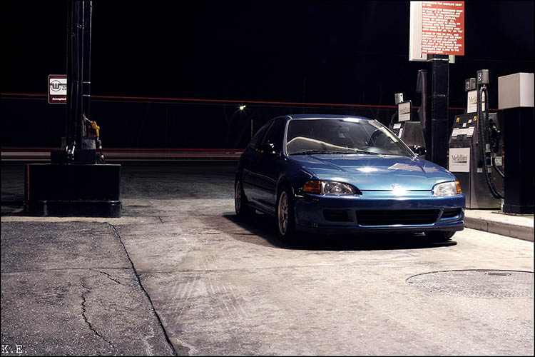 civic gas station hard parked