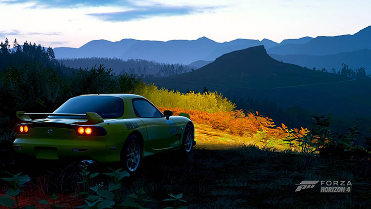 mazda rx7 fd hard parked scenery mountains