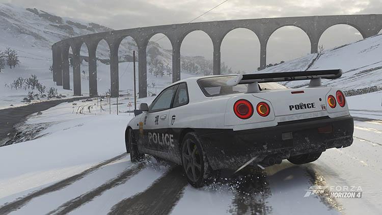 nissan skyline r34 gt r police car drift tuning snow