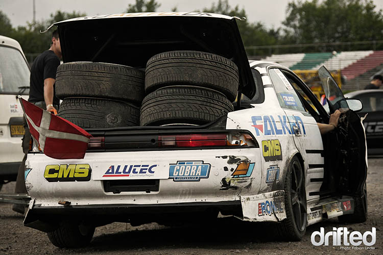 white jzx90 track tires burnt rubber