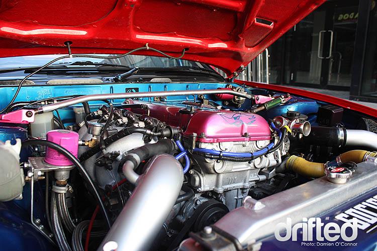 180sx sr20det enginebay engine bay pink cover