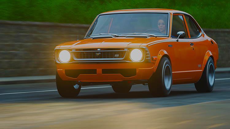 1974 toyota corolla sr5 orange rolling