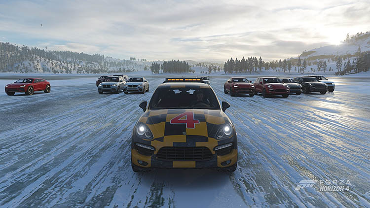 porsche suv 4x4 drag race ice