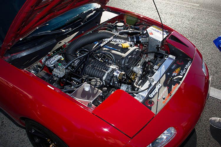 supercharged mazda miata mx5 hood engine bay