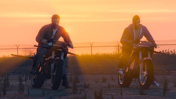 bikes motorbikes sunset glow