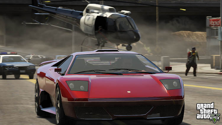 supercar hypercar police chase helicopter