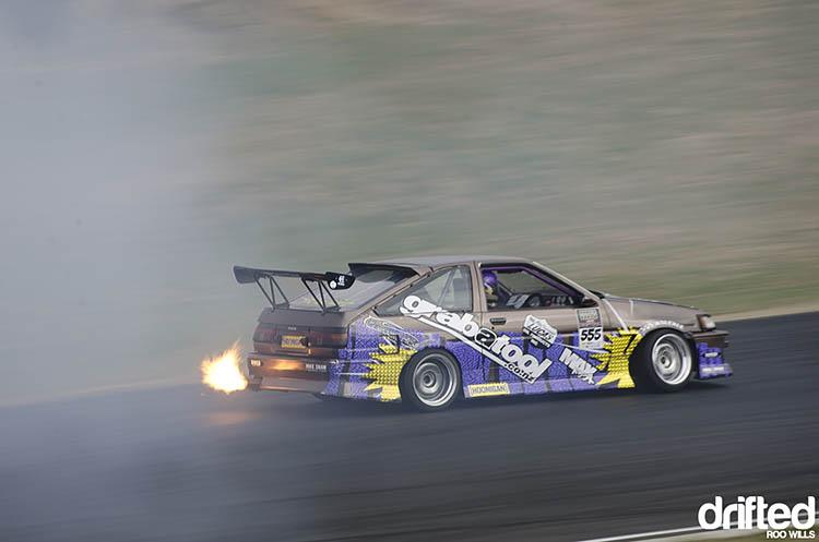 toyota corolla ae85 rotary 20b drift drifting flame