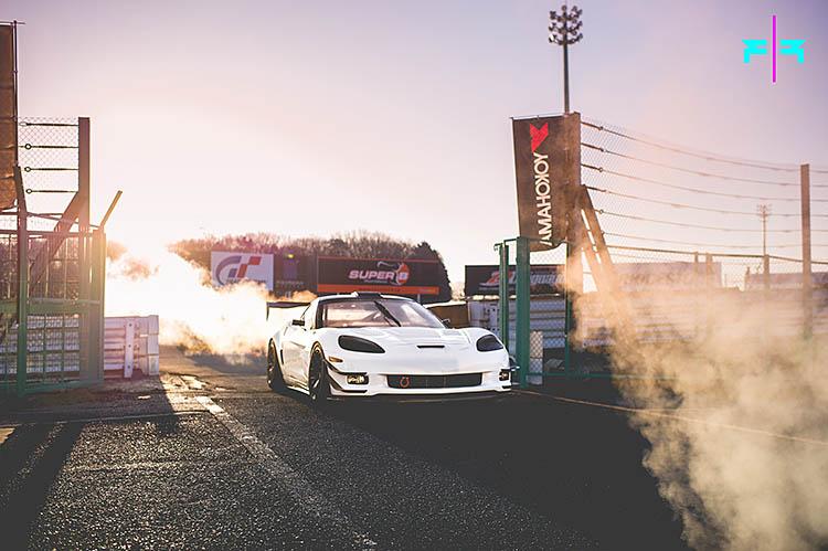 white corvette early morning steam usa japan