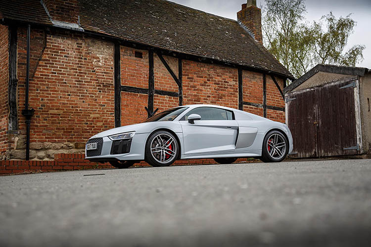 audi r8 house white parked
