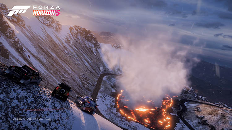 fh5 snow capped active volcano off road explore