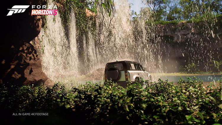land rover defender waterfall rainforest