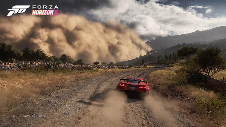 red chevrolet corvette c8 off road dust sandstorm getaway