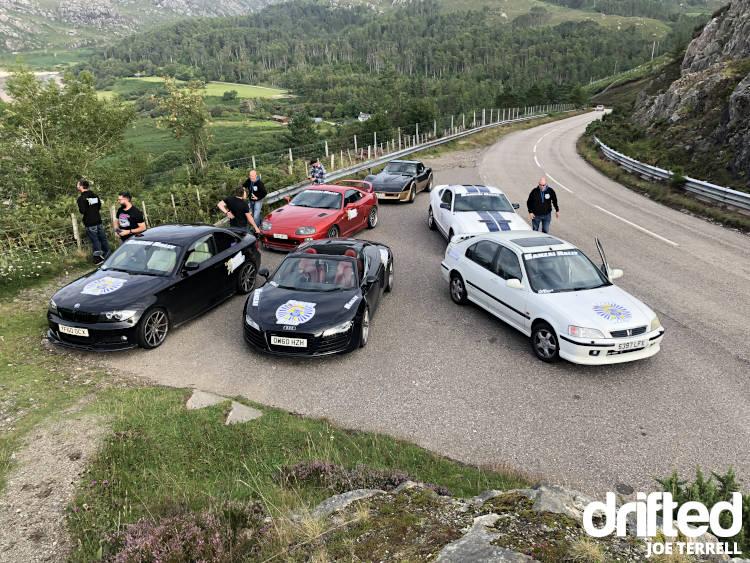 banzai rally cars parked at road