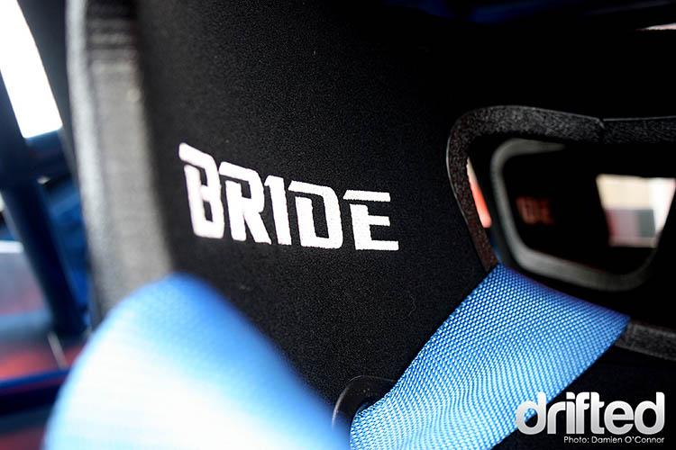 close up seat harness blue