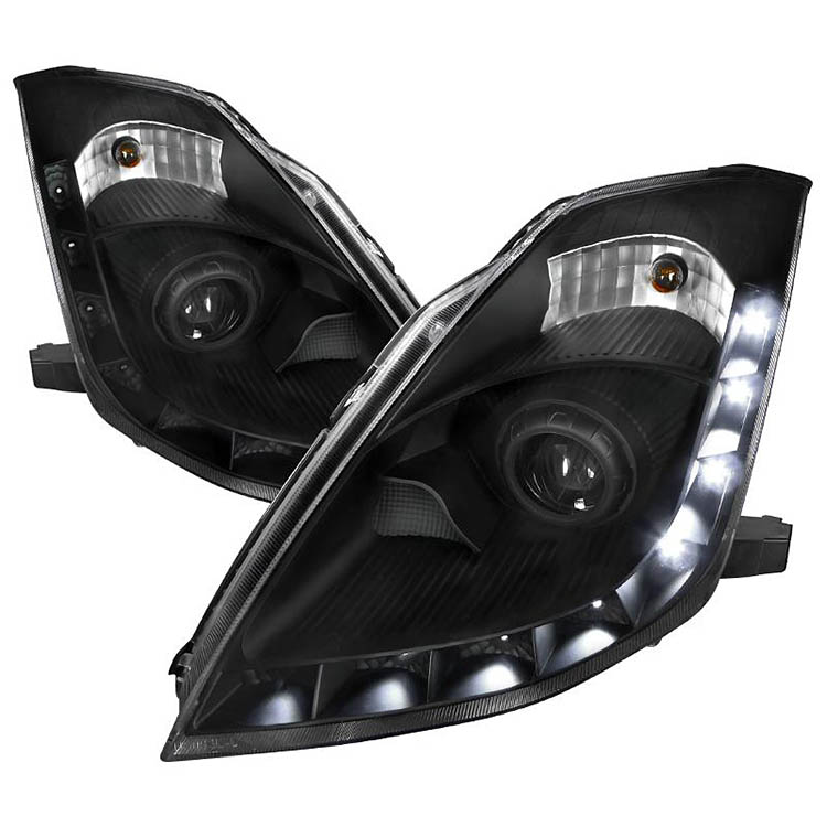 spec d projector headlights led drl strip nissan